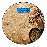 Digitale Präzisionswaage für das Körpergewicht Runde Kompass-Dekor Ultra dünne ausgeglichenes...