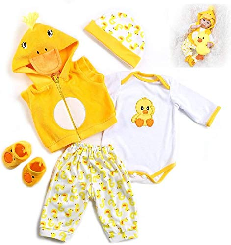 20-22 Inches Reborn Baby Dolls Clothes Yellow Outfit Newborn Babies Matching Clothing Accessories 5Pcs/Set