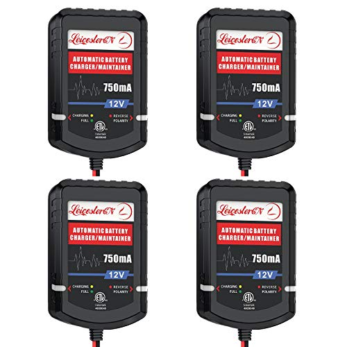 [4-Pack] LEICESTERCN Automatic Trickle Battery Charger Maintainer 12V 750mA Smart Float Charger for Car Motorcycle Lawn Mower Tractor Boat SLA ATV Wet AGM Gel Cell Lead Acid Batteries