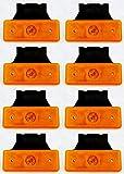 8 luces de gálibo naranja ámbar 24 V marcador lateral 4 luces LED con soportes para volquete, remolque, chasis, camión, caravana, bus
