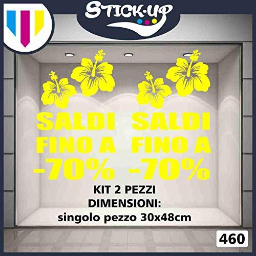 Vetrofanie SALDI – Set 2 Stück – Salde bis zu 70% – Streudeko – draußen – Schaufenster – Stöckers