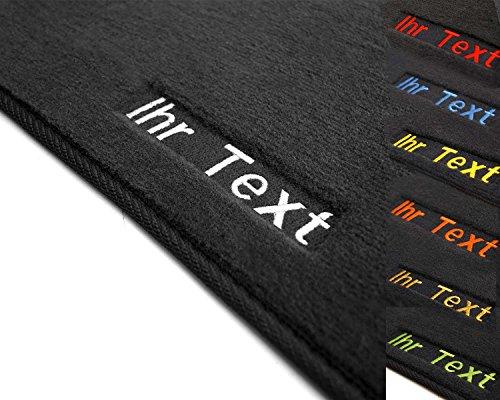 Auto deurmatten, geborduurd met tekst naam reclame etc, hoogwaardige velours automatten Lieferumfang: 2-teilig Fahrer + Beifahrer