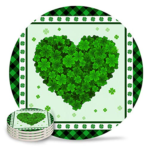 4-Piece Set Ceramic Coasters for Drinks,Saint Patrick Clover Love Heart on Green Buffalo Plaid Border Unique Absorbent Round Ceramics Cork Backed Cup Mat for Home/Housewarming Gift