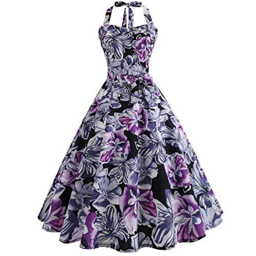 Baijiaye Damen Kleider Neckholder Retro Rockabilly Kleider 50s Vintage Kleid Tupfen Retro Drucken Kleider Cocktail Abschlussball Kleider Lilane Blumen 2XL