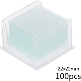 JunYe 100 Pieces Transparent Square Glass Slides Coverslips Coverslides For Microscope Optical Instrument 22x22mm