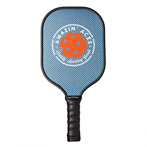 Amazin' Aces Graphite Pickleball Paddle | Racket Features Graphite Face & Honeycomb Polymer Core | Meets USAPA Specifications (Blue)