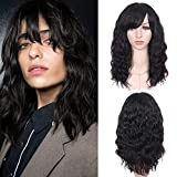 WIGNEE 100% Virgin Human Hair Natural Wave Wigs with Bangs Brazilian Human Hair Wave Wigs For Black Women Natural Black Color (14 Inch)