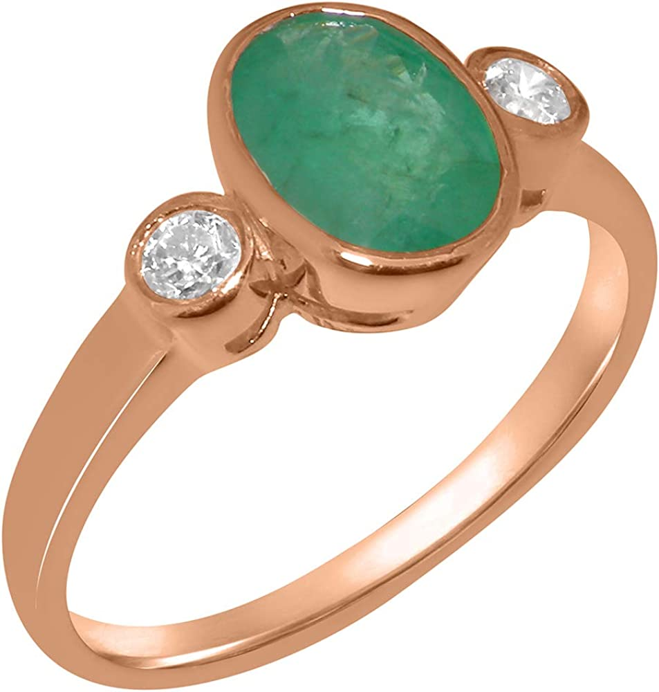 Solid 18k Rose Gold Natural Emerald & Cubic Zirconia Womens Trilogy Ring - Sizes 4 to 12 Available