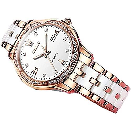 Reloj de Pulsera de Cuarzo Analógico para Mujer de Berlín con Correa de Cerámica de Acero Inoxidable Resistente Al Agua a La Moda Reloj Elegante para Mujer de Negocios por La Noche,A