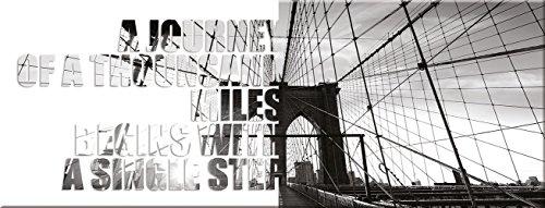 artissimo, Glasbild, 80x30cm, AG1940A, Single Step, New York, Bild aus Glas mit Spruch, Moderne Wanddekoration aus Glas, Wandbild Wohnzimmer modern