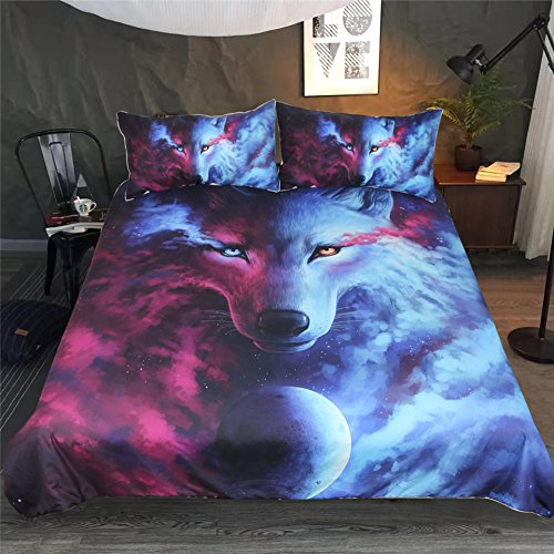 Bettbezug & Kissenbezug 3D Tier Tiger Löwe Wolf Elch Design Pattern Leichte Mikrofaser Bettwäsche Set Einzelgröße Doppelte King Size (Lila & Blauer Wolf, Doppelte 200x200cm)