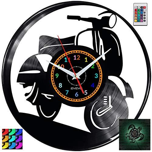 EVEVO Vespa Wanduhr RGB LED Pilot Wanduhr Vinyl Schallplatte Retro-Uhr Handgefertigt Vintage-Geschenk Style Raum Home Dekorationen Tolles Geschenk Uhr