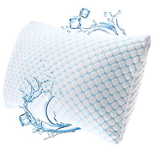"Nestl Coolest Pillow Heat and Moisture Reducing Ice Silk and Gel Infused Memory Foam Pillow. Adjustable, Washable, Breathable - Queen - 18"" X 26"" - 1 Pack"