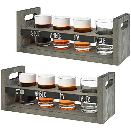MyGift Vintage Gray Wood Beer Flight Sampler Serving Tray Caddies with Chalkboard Panels & 4 Tasting Glasses, Set of 2
