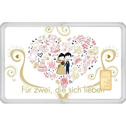 Geschenkkarte Hochzeit mit Goldbarren 0,5g philoro Feingold 999.9 LBMA zertifiziert