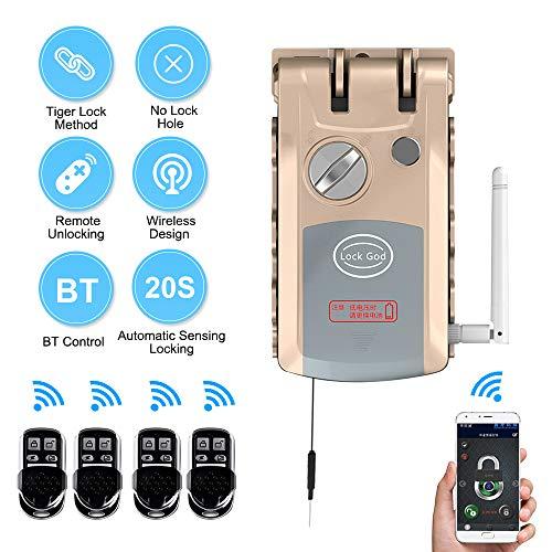 OWSOO Cerraduras Invisibles, Cerradura sin Llave con 4 Control Remoto, Soporta Función de BT, Bloqueo de Control Remoto, Interruptor de Botón de Emergencia Manual, Autobloqueo en 20 Segundos