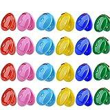EASYBUY - Castañuelas de dedo (24 piezas, mini redondo, plástico, castañuela a granel, instrumento musical de percusión para jardín de infancia (5,5 cm de diámetro)