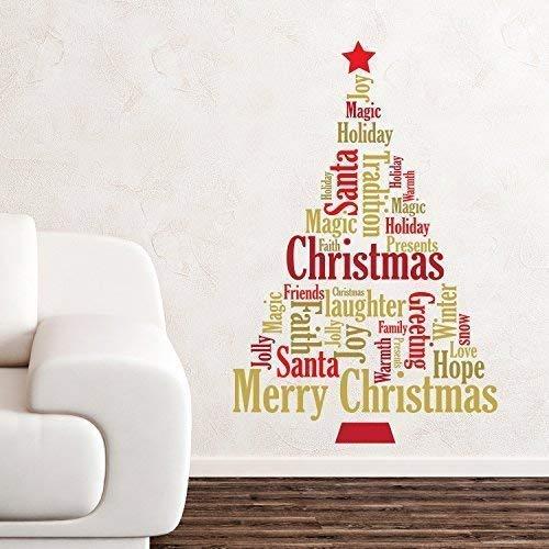 Wallflexi Navidad Decoraciones Pegatinas de Pared Inglés Citas árbol de Navidad de Pared murales Adhesivos salón niños guardería Escuela Restaurante Cafe Hotel casa Oficina decoración
