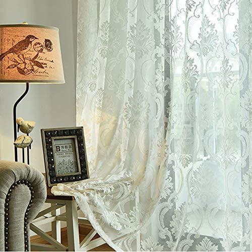 HM&DX Bestickt Voile Gardinen ösen, Europäische Dekoration Fenster Vorhang Schatten Vorhang Drapieren Wohnzimmer -weiß 200x270cm(79x106inch)