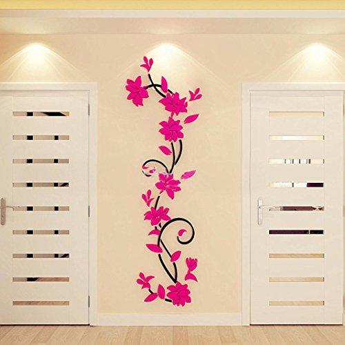 Stickers Mural, HUI.HUI DIY Actif Autocollants Papier Peint Jeu Pouvoir Inspiré 3D Fleur Decoration (Rose Vif)