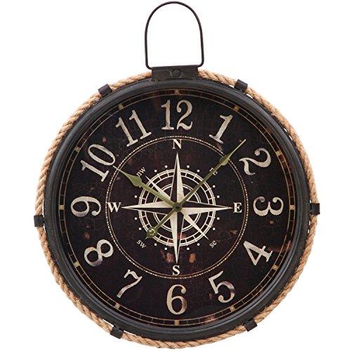 不二貿易 掛け時計 幅47cm ブラック コンパス 72701
