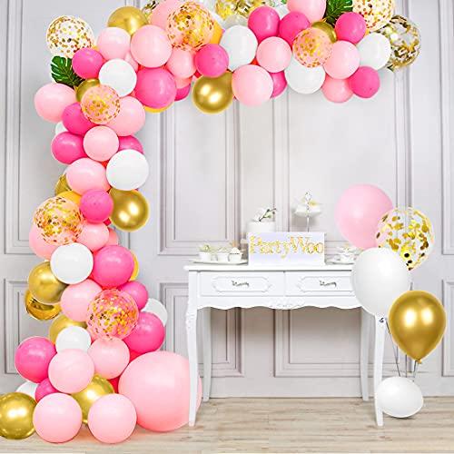 64 Piezas Globos Rosa y Blancos Oro, Rosa Metálicos Confeti Guirnalda Arco Kit, para Bebe 1 Año Cumpleaños, Niña Bautizos Comunion Baby Shower Rosa, Bodas Aniversario Graduacion Fiesta Decoracion
