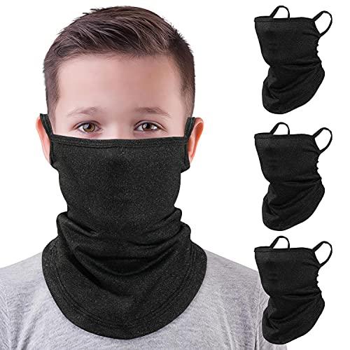 MoKo Kids Neck Gaiter Face Mask, 3 Pack Scarf Bandana Mask with Ear Loops UV Sun Protection Outdoors Balaclava for Girls Boys, Black - Large Size