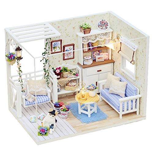 negaor Casa de muñecas en miniatura con muebles, DIY casa de muñecas, kit de madera, mini casa, regalos para niños, juegos de casa de muñecas