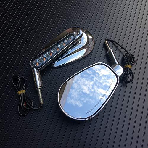 Motocicleta Vista Trasera Espejos LED Turn Signals Light Motorcycle Bar End Vista Posterior Retrovisor Handlebar End Mirror Manillar Espejo Retrovisor Espejo (Color : Chrome)