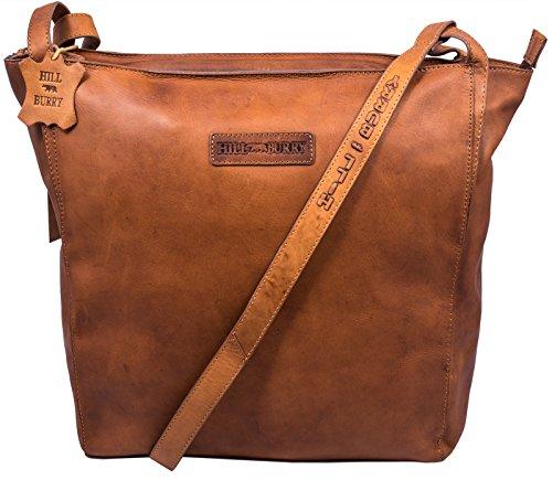 Hill Burry Damen Shopper | aus weichem hochwertigem Leder Bag Beutel | Umhängetaschen Schulterbeutel - Abendtasche | Handtasche - Schultertasche (Braun)