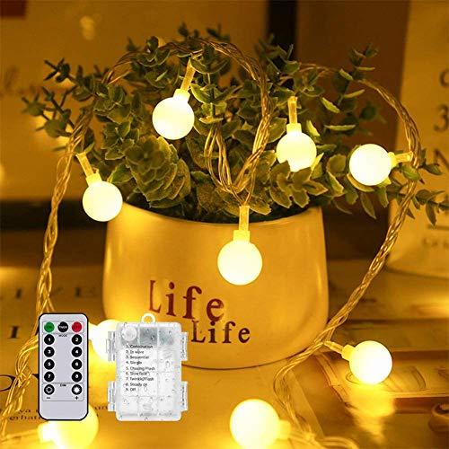 50 LED Cadena Luces con 8 Modos 5M,Farolillos Luz Decorativos con Mando a Distancia IP65 Impermeable Iluminación para Interior/Exterior,Bolas Decorativas Fiesta,Jardín, Navidad (blanco cálido)
