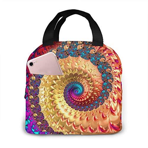 Oivla Psychedelisches Spiralsymbol, spirituelles Wachstum, isolierte Lunch-Tasche, Handtasche, Lunchbox, Gourmet-Tasche, Lebensmittelbehälter, Aluminiumfolie, für Picknick im Freien