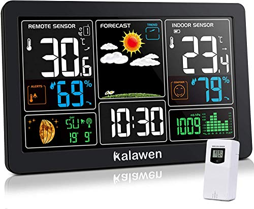 Kalawen Weather Station Wireless Indoor Outdoor Thermometer with Atomic Clock, Color Display Digital Weather Forecast Station Thermometer with Moon Phase
