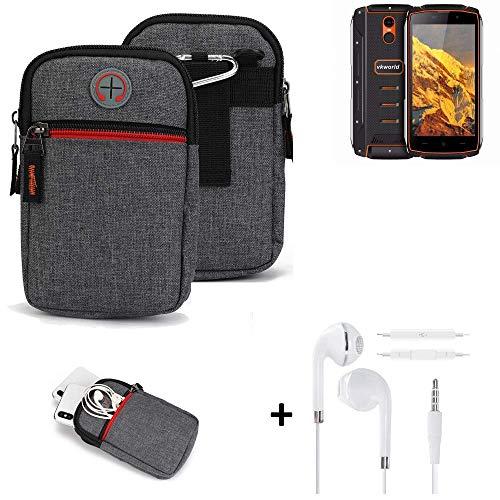 K-S-Trade® Gürtel-Tasche + Kopfhörer Für Energizer P20 Handy-Tasche Schutz-hülle Grau Zusatzfächer 1x