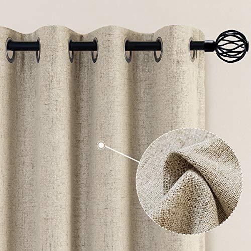 jinchan Linen Textured Beige Drapes Grommet Top 84 inch Length Blackout Curtains Living Room Bedroom Window Treatment Heavy Weight 2 Panels