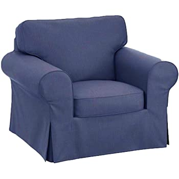 Amazon Com The Chair Cover Is Sofa Slipcover Replacement It Fits Pottery Barn Pb Basic Chair 39 5 Wide Not Grand Chair Or Armchair Blue Furniture Decor