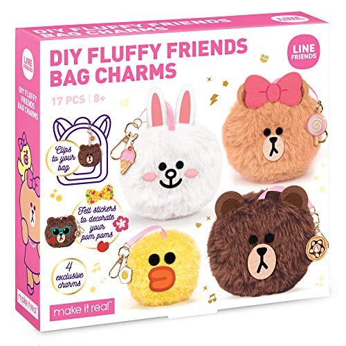 Make It Real - Line Friends DIY Fluffy Friends Bag Charms - Fluffy Pom Pom Keychain - Decorate Cute Animal Fur Ball Keychain, Backpack Clip and Purse Charm - DIY Arts and Craft Kit for Kids
