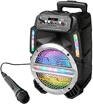 Ankuka Bluetooth Karaoke Machine with Colorful LED Lights
