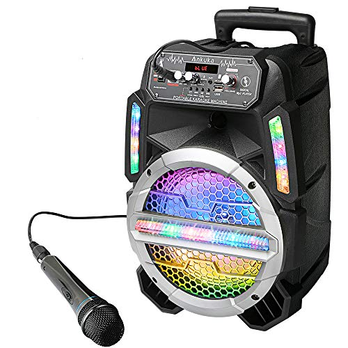 Ankuka Bluetooth Karaoke Machine for Kids and Adults, Wireless PA System with 8'' Subwoofers, Wired Mics, Colorful LEDs for Party, Singing