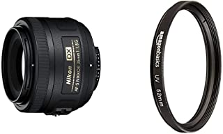 Nikon AF-S DX Nikkor 35 mm f/1.8 G - Objetivo para Montura F Distancia Focal Fija 52.5 mm Apertura f/1.8G Negro - Versión Europea + AmazonBasics - Filtro de protección UV - 52mm