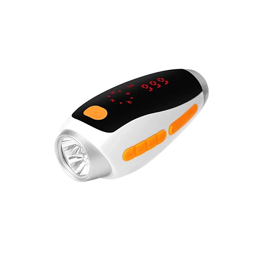 しばしば護衛失敗ZAIHW ハンドクランク懐中電灯LED懐中電灯コンパスと気候クエリ付き多機能トーチポータブルセルフパワー/USB充電式屋外緊急照明