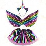 Minkissy unicorno fascia fascia ala set tulle arcobaleno unicorno lucido gonna fata vestito festa garza accessori costume per ragazze