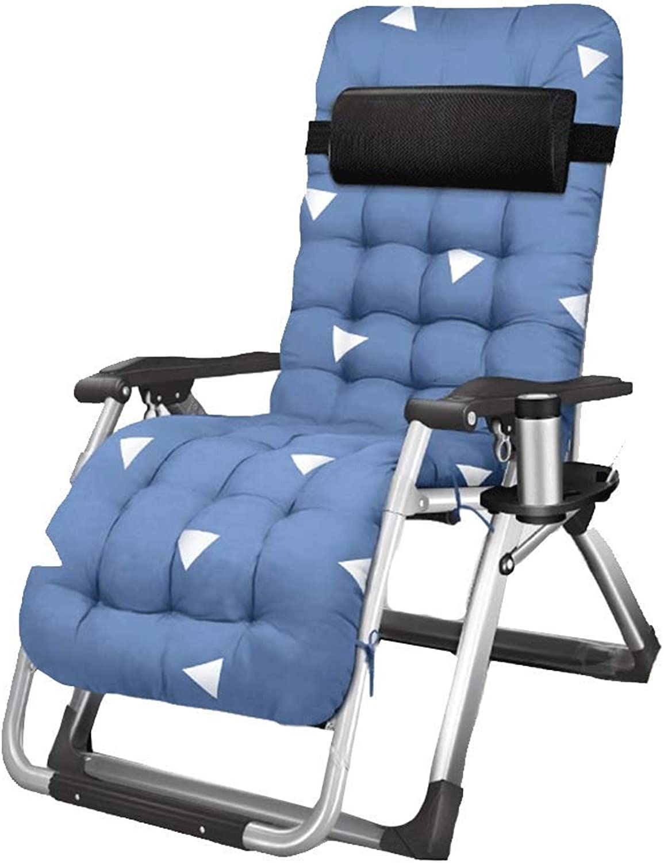 XzAJK Folding Chair Lunch Break Siesta Bed Portable Lazy Adult Home Beach Chair Folding Chair (color   bluee-a)
