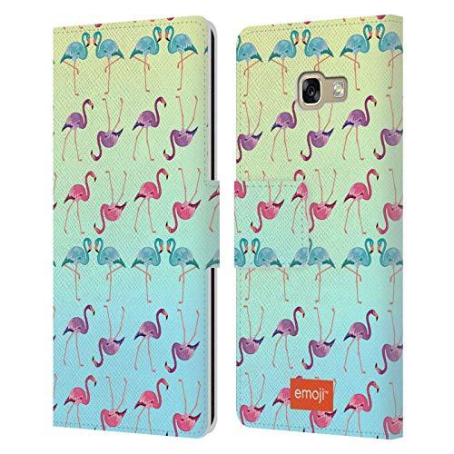 Head Case Designs Oficial Emoji Patrón Ombre Flamingos Carcasa de Cuero Tipo Libro Compatible con Samsung Galaxy A5 (2017)
