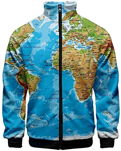 DamonRHalpern NIUQ Couple's 3D Printing Long Sleeve Zip Cardigan Coat Standing Collar Tops Jacket
