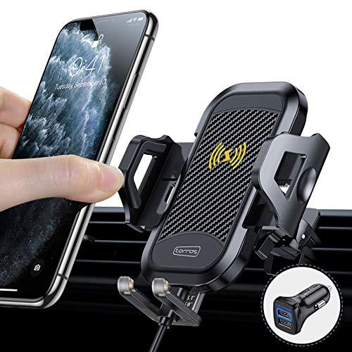 TORRAS Handyhalter fürs Auto Wireless Charger 2020 Upgrade Kit mit Auto Ladegerät 2 Lüftungsclips Qi 10W Fast Charging Auto Handyhalterung für iPhone 11 XS XR Samsung S20 S10 Note10+ Huawei Xiaomi
