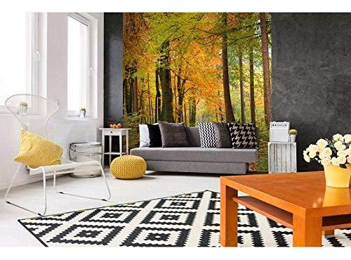 Vlies Fotobehang HERFST BOS | Niet-Geweven Foto Mural | Wall Mural - Behang - Reusachtige Wandposter | Premium Kwaliteit - Gemaakt in de EU | 225 cm x 250 cm