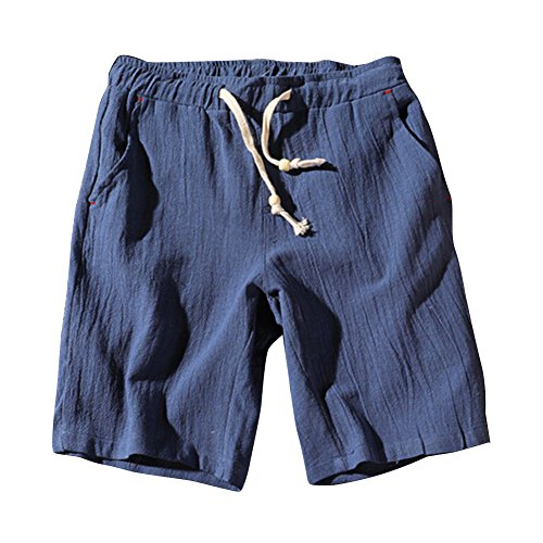GladiolusA Pantalones Cortos De Playa Hombre Chino Pantalones De Lino Cargo Bermuda Shorts Comodidad Transpirable Tallas Grandes Azul 4XL