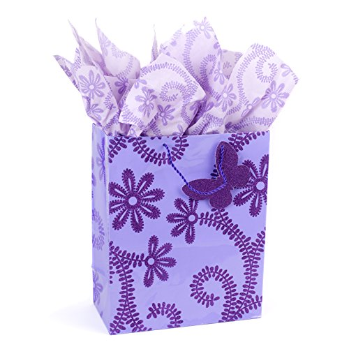 Hallmark 13' Large Gift Bag with Tissue Paper (Lavender Flowers) for Birthdays, Baby Showers, Weddings, Mothers Day and More