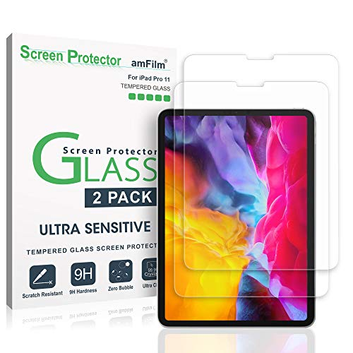 amFilm Glass Screen Protector for iPad Pro 11 inch (2020 & 2018 Models) (2 Pack), Tempered Glass, Ultra Sensitive, Face ID and Apple Pencil Compatible